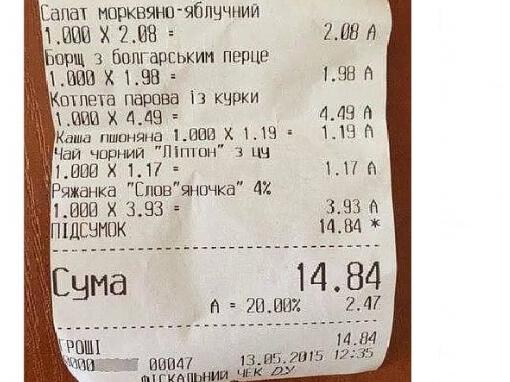 Борщ менше 2 гривень Чек із депутатської їдальні. Депутати їдять за копійки, може, звідси і рахують прожитковий мінімум для населення?